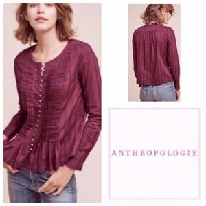Anthropologie Gelise Purple Pleated Button Blouse